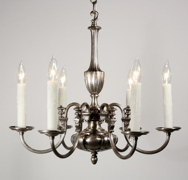Beautiful Antique Six Light Silver Plated Adam Style