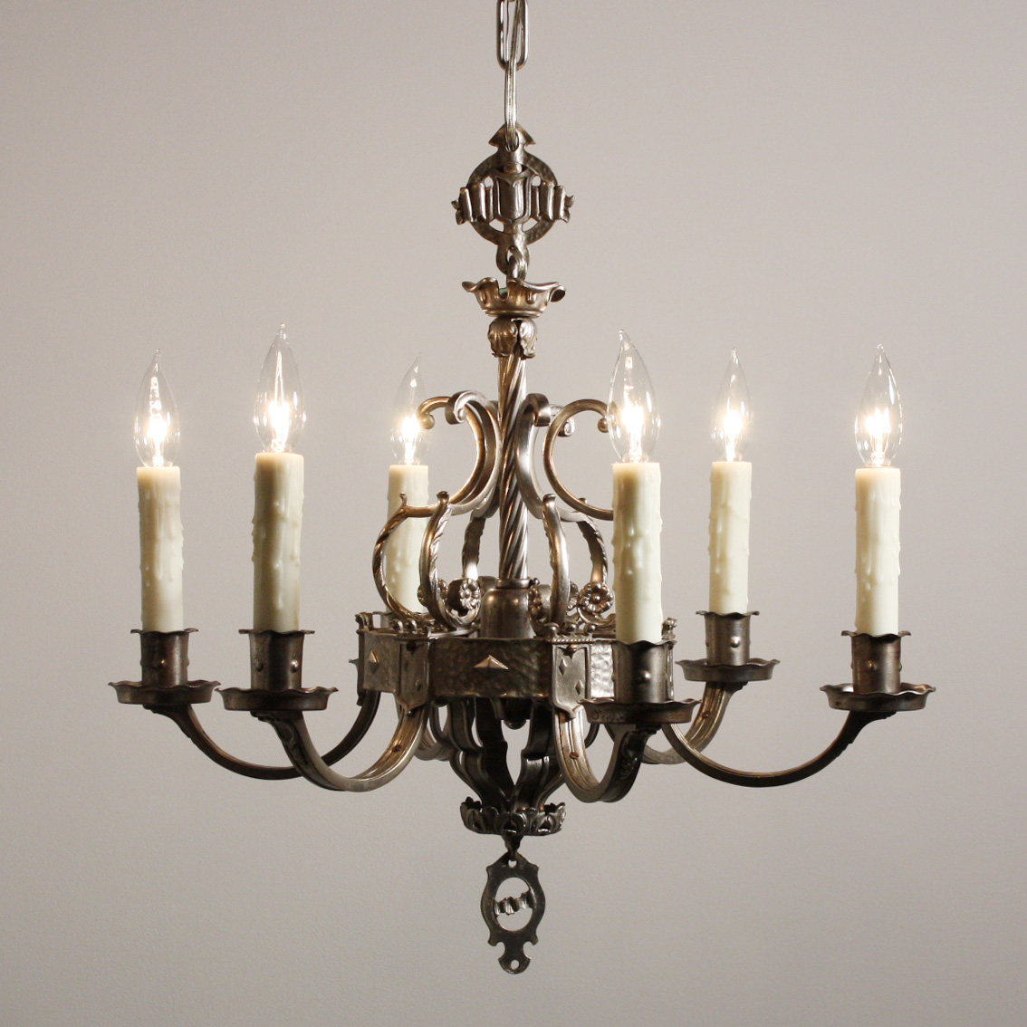 Incredible Antique Spanish Revival Six Arm Chandelier with Shields,  Darkened Nickel, NC1524 - For - Antique Spanish Chandelier Antique Furniture