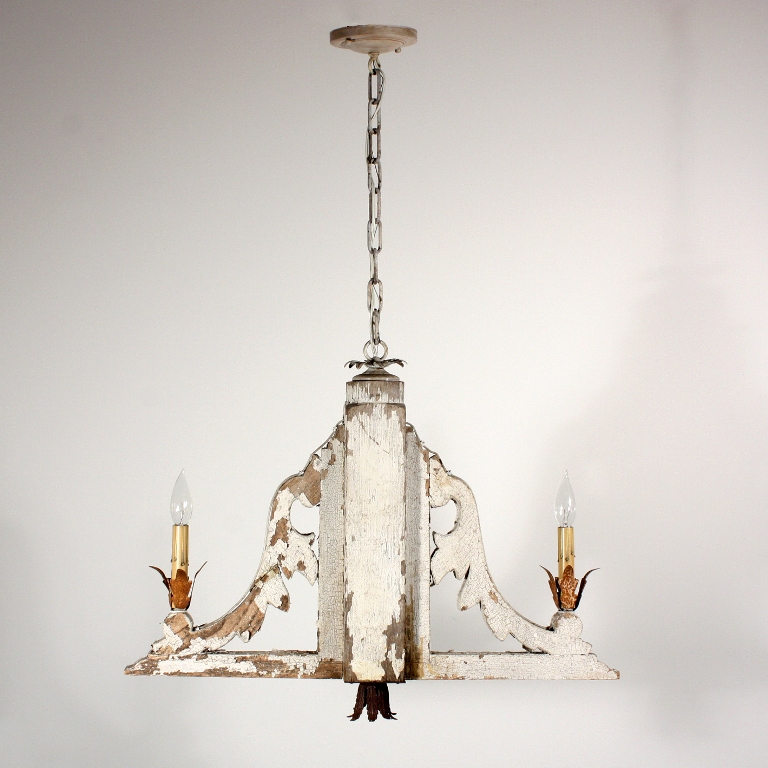 Fabulous Custom Two Light Chandelier With Antique Corbels