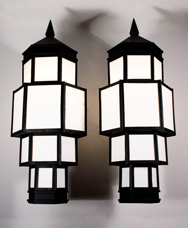 large pair of antique art deco exterior copper sconces 32 tall nsp463 for sale. Black Bedroom Furniture Sets. Home Design Ideas