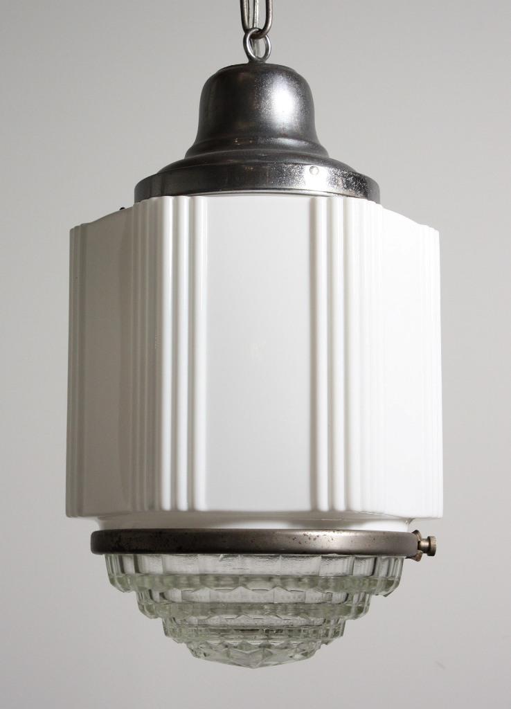 Antique Art Deco Skyscraper Pendant Light With Two Part