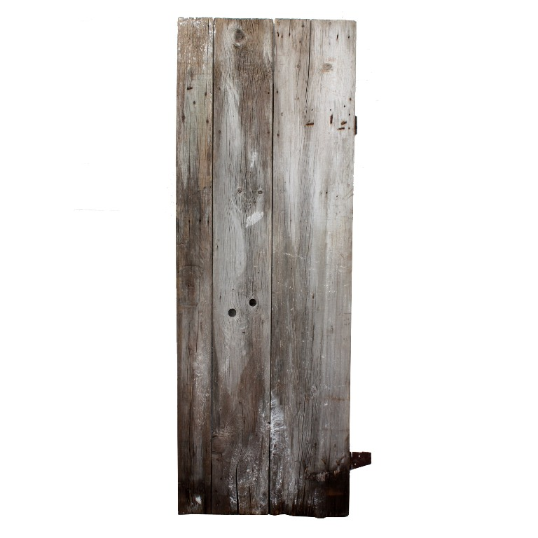 """A wonderful antique barn door salvaged from a farm outside Keokuk, Iowa.  This primitive plank door measures 29-1/2"""" wide, 84-1/4"""" tall, and 7/8""""  thick. - Salvaged Plank Door From Barn In Keokuk, Iowa, 30"""" NED96 For Sale"""
