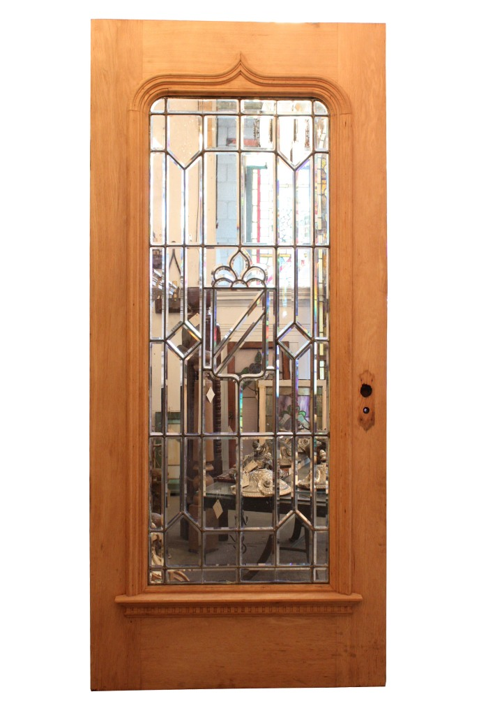 Magnificent 40 Salvaged Exterior Oak Door With Beveled Leaded Glass NED52 Fo