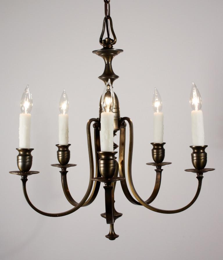 Elegant Antique Br Five Light Colonial Revival Chandelier