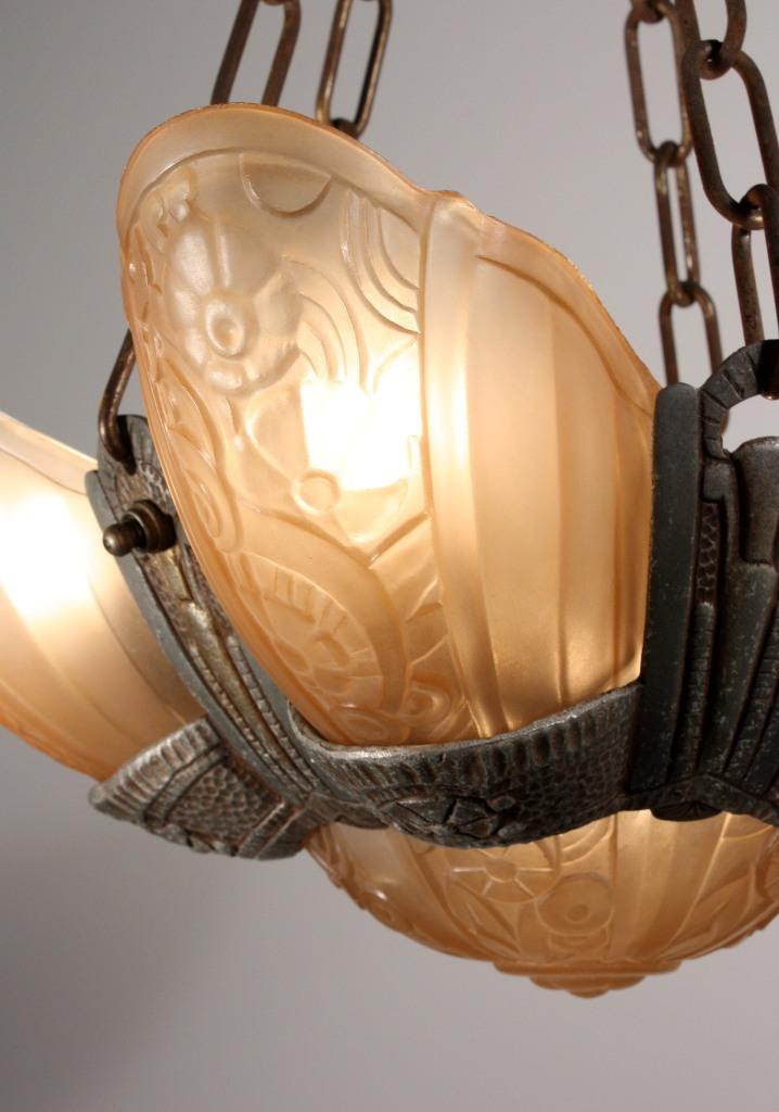 Antique Six Light Art Deco Slip Shade Chandelier Signed