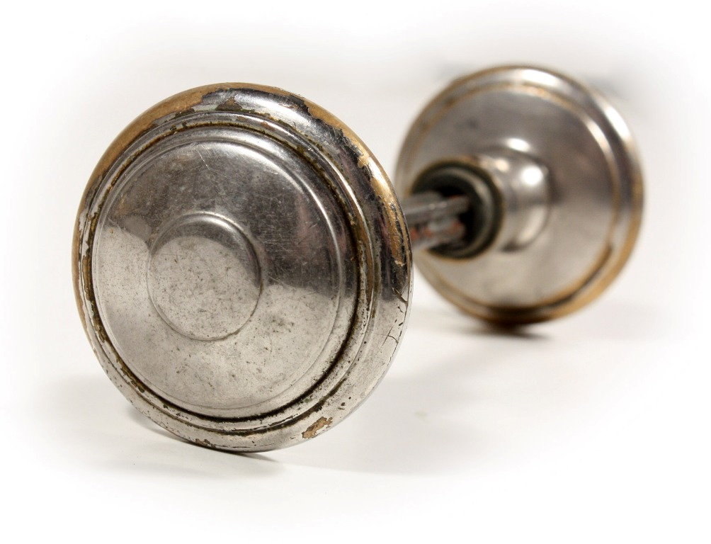 Two matching sets of antique nickel doorknobs c 1920 s for 1920 door knobs