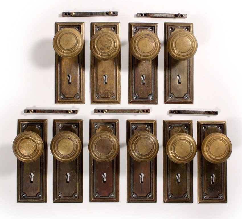 Antique Brass Arts Crafts Door Hardware Sets With Knobs Plates Ndks67 Two Available For