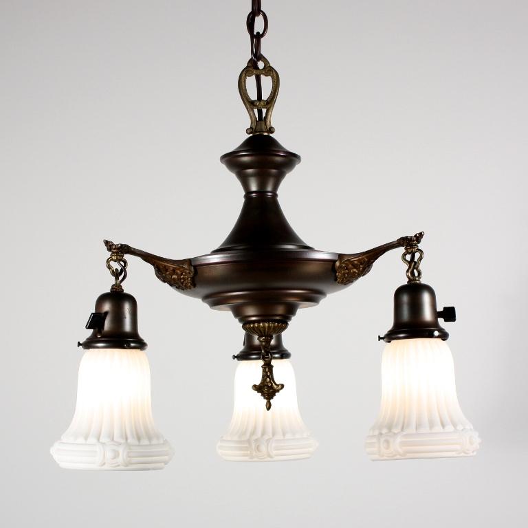 Fantastic Antique Neoclassical Three Light Chandelier With Original Glass Sha