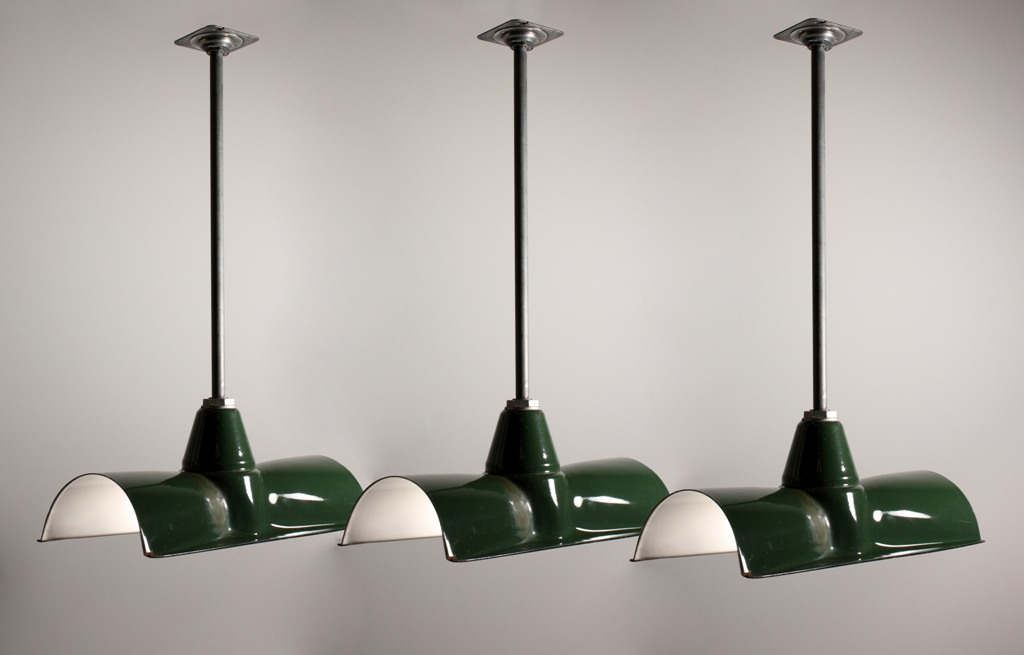 Three Matching Antique Green Enamel Amp Porcelain Industrial