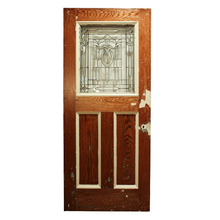 Gorgeous antique 34 salvaged exterior door with beveled for Old wood doors salvaged