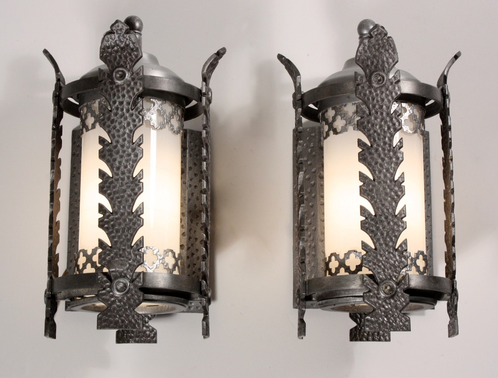 This is a splendid pair of antique Gothic Revival sconces with their original flashed glass cylinders dating from the 1930u0027s. & Amazing Pair of Antique Gothic Revival Exterior Sconces with ...