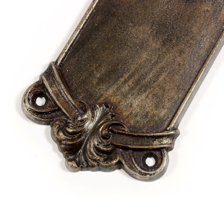 Beautiful antique Neoclassical door push plates with ribbon detail, dating  from the early 1900's. The top of each cast iron plate features a foliate  design ... - Elegant Antique Cast Iron Neoclassical Door Push Plates NPP7