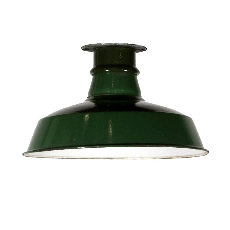 three matching antique industrial flush mount lights with green enamel