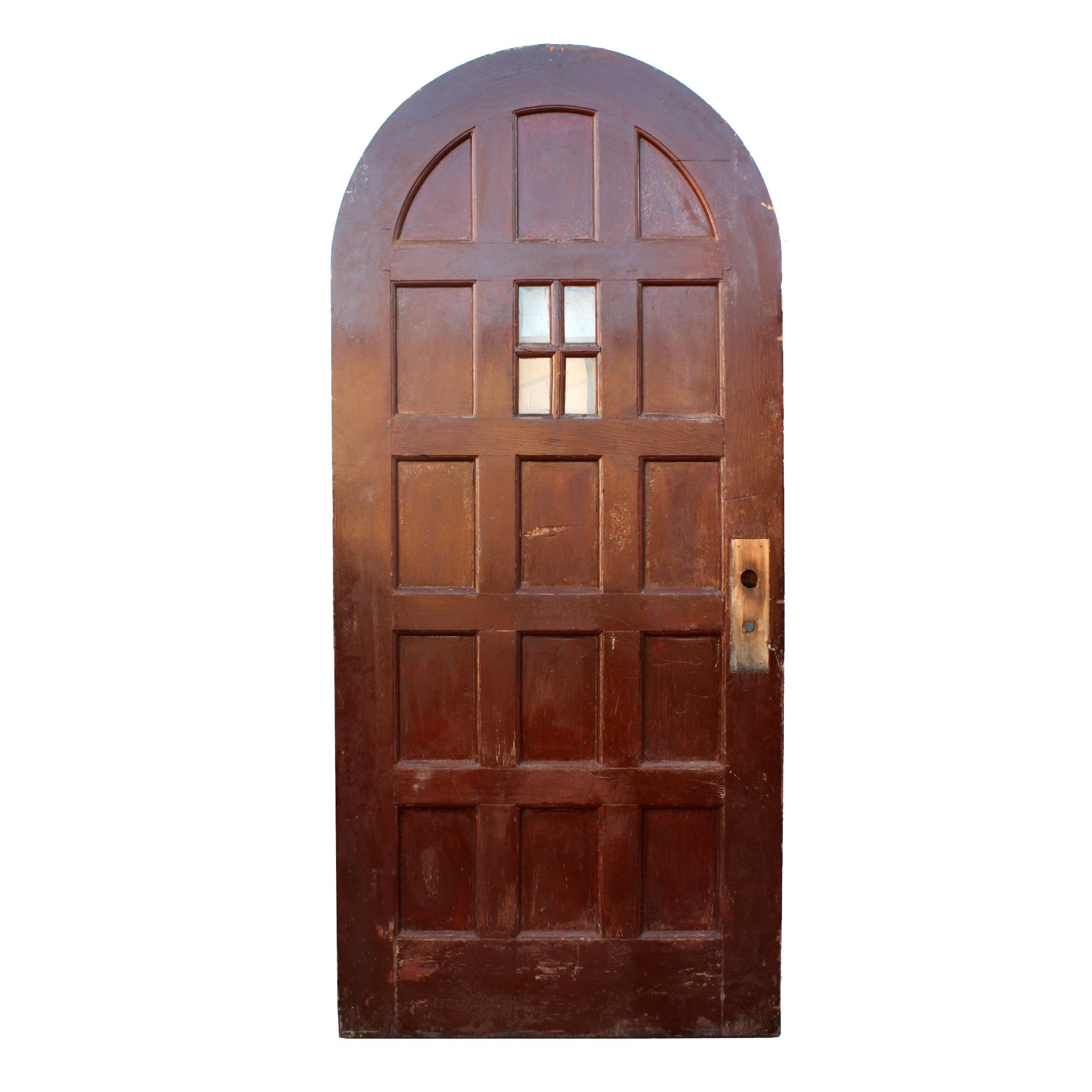 Antique exterior 36 arched door with panels and window for External front doors for sale