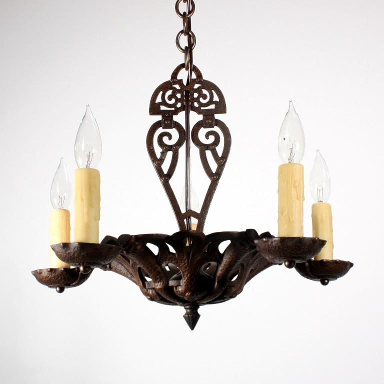 Marvelous Antique Tudor Five Light Cast Iron Chandelier Signed Puritan NC129
