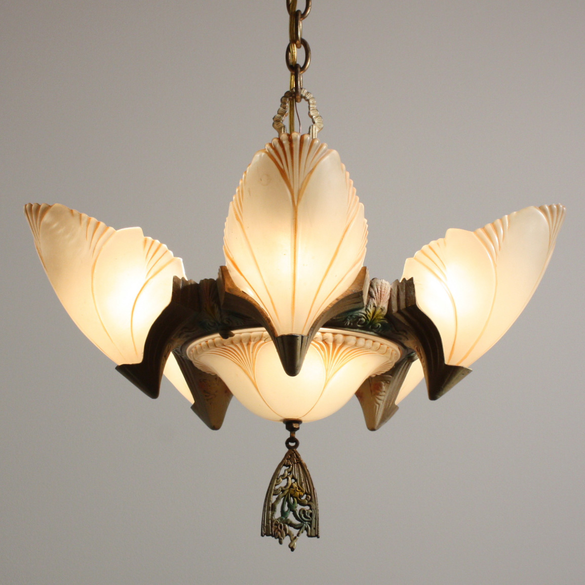 Marvelous antique art deco batwing slip shade chandelier c1930 a remarkable antique art deco seven light batwing slip shade chandelier with its original two tone finish and polychrome accents dating from the 1930s arubaitofo Image collections