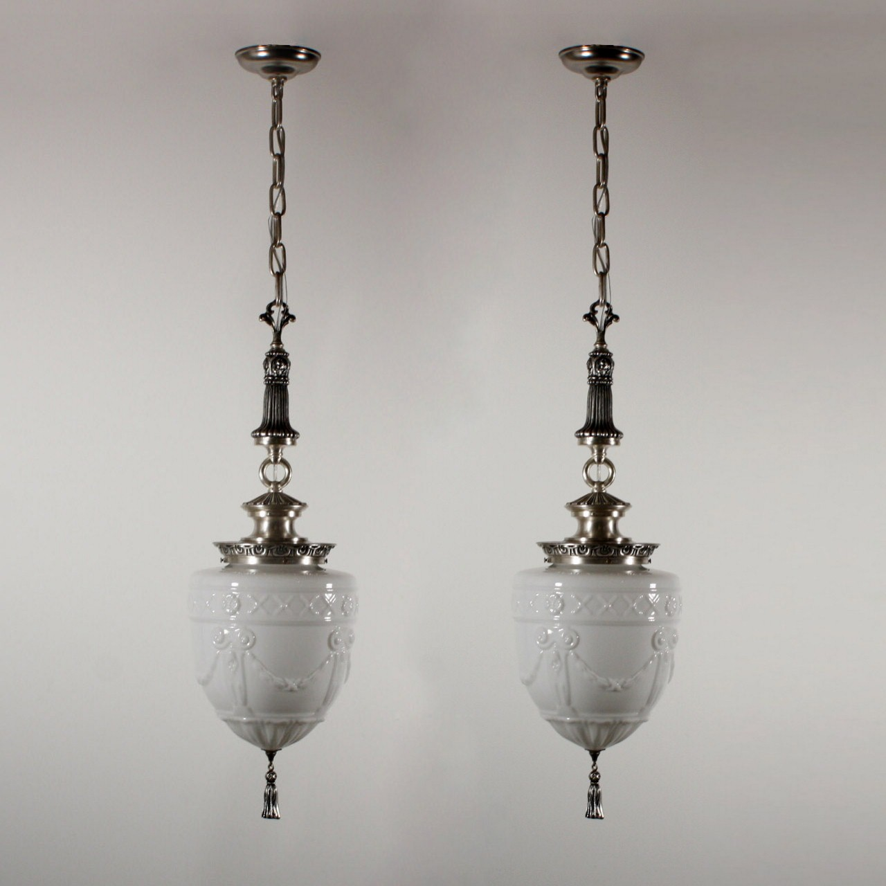 Stunning Neoclassical Antique Silver Plated Pendant Lights