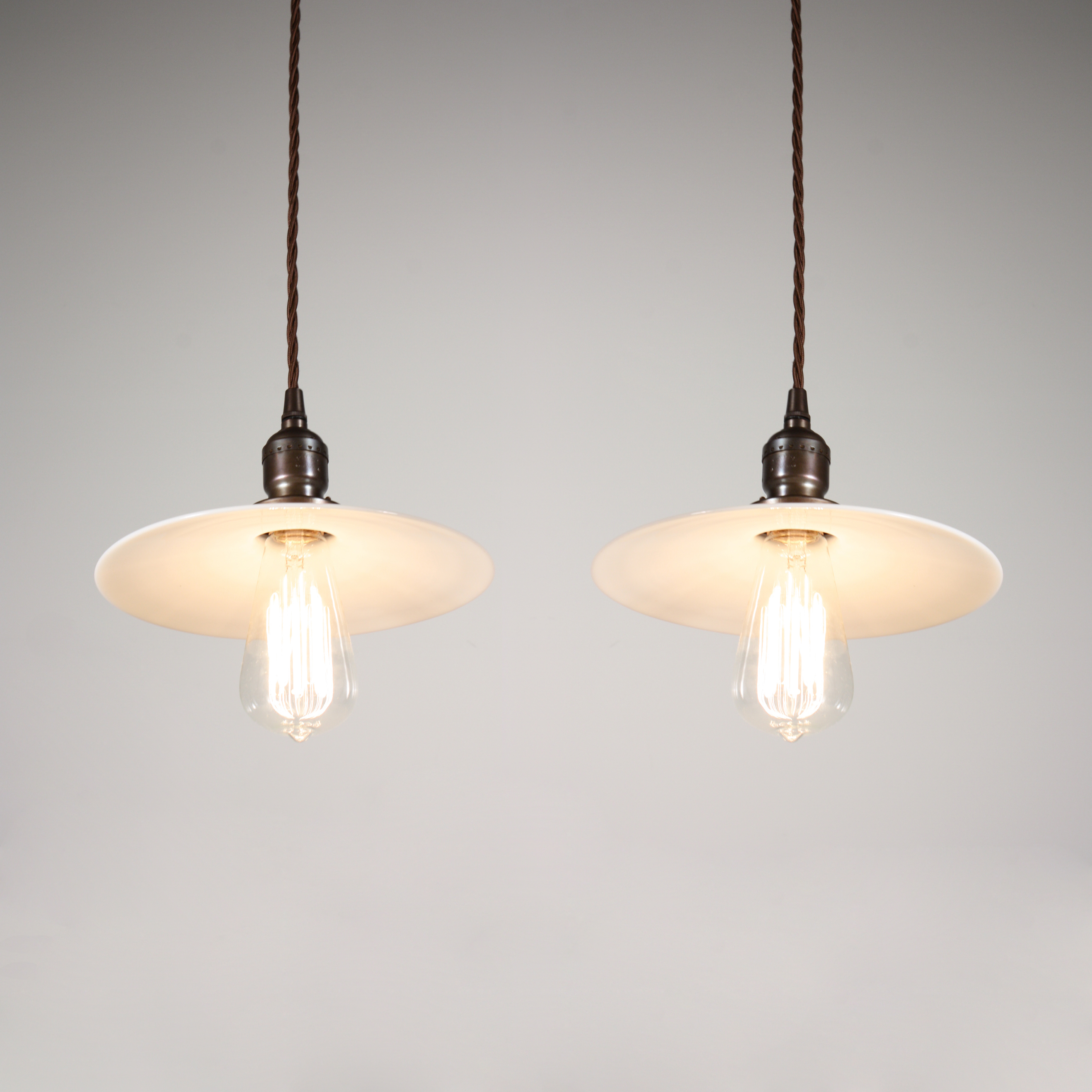 Porch Light Appraisal: Two Matching Antique Industrial Pendant Lights With Milk