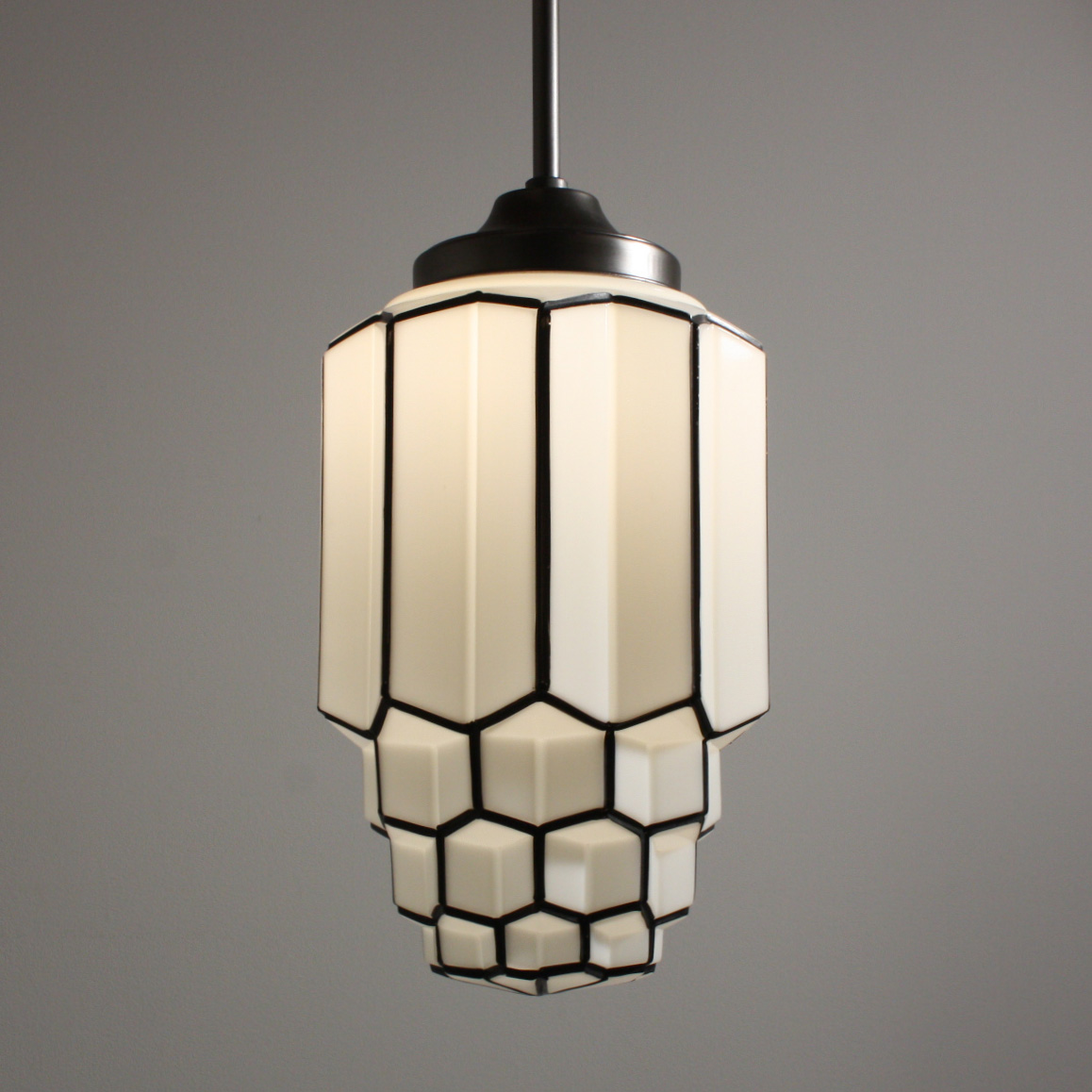 Antique Art Deco Pendant Light With Skyscraper Globe C