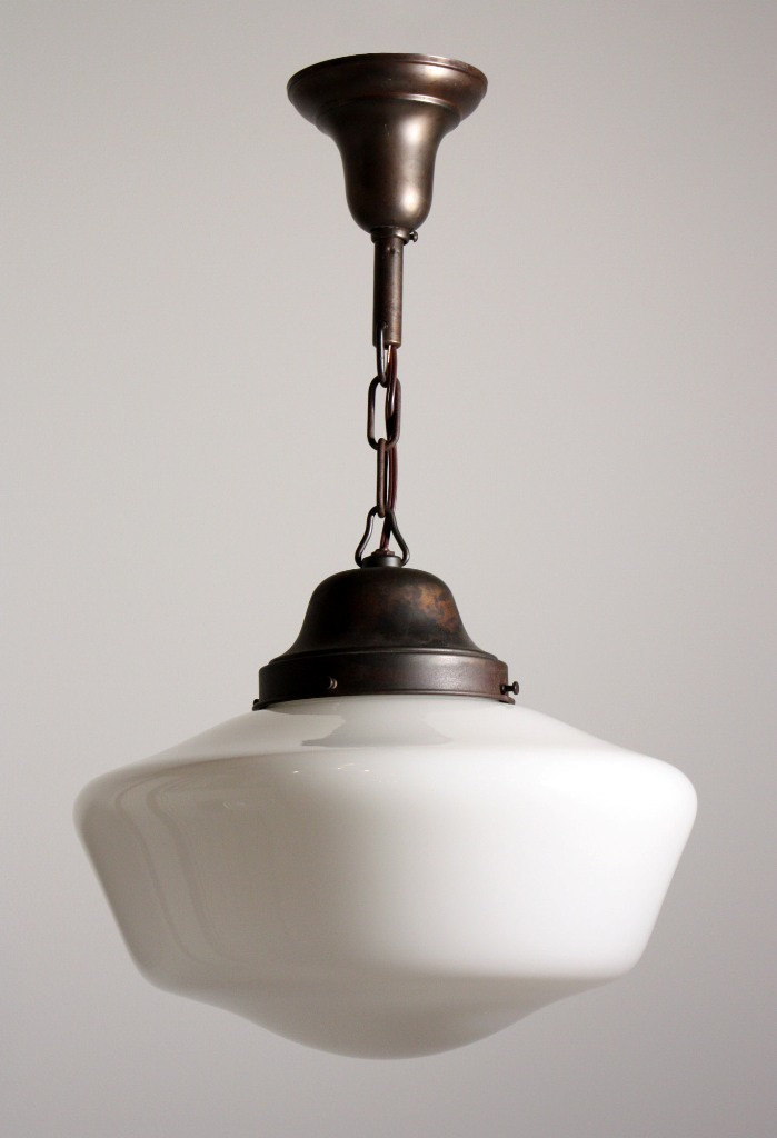 antique industrial schoolhouse light with glass globe c 1930 s. Black Bedroom Furniture Sets. Home Design Ideas