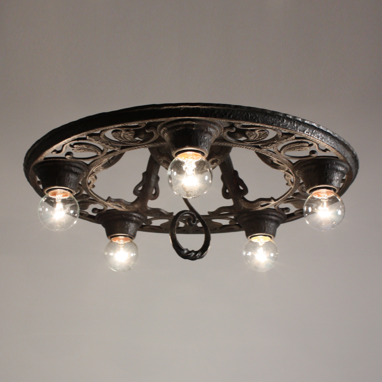 Fantastic Antique Five Light Cast Iron Flush Mount Chandelier Salvaged Out Of Nashville And Dating From The 1920 S Tudor Fixture Begins With A Domed