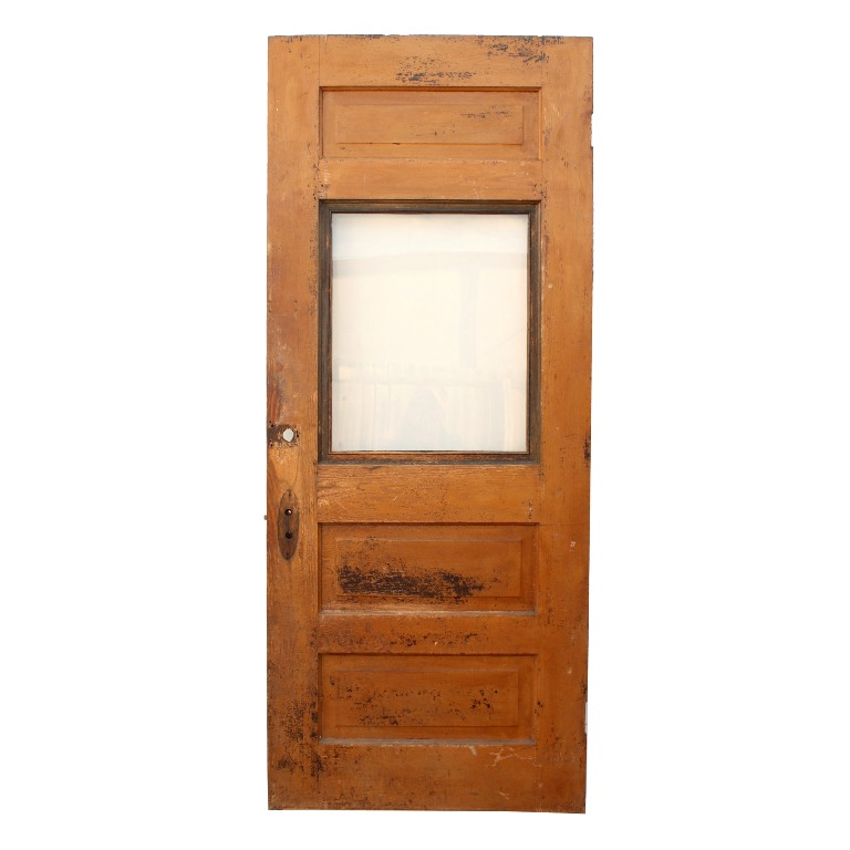 Antique Salvaged 34 Exterior Oak Door With Window NED82 RW For Sale Antique