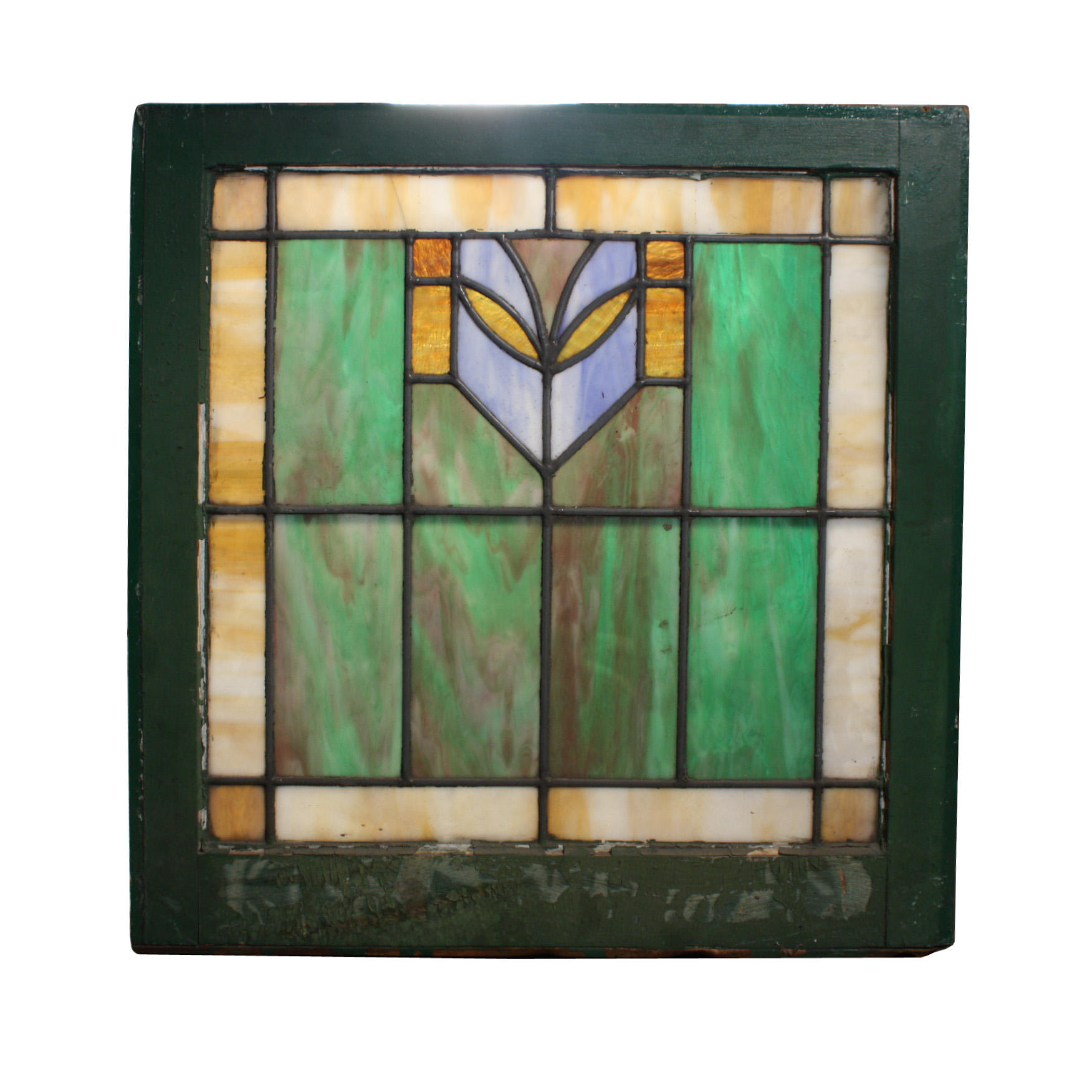 Gorgeous Antique American Stained Glass Window With Multi