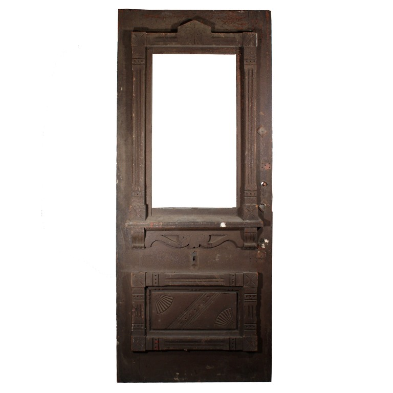 Large antique eastlake exterior 38 door with carved for Exterior doors for sale