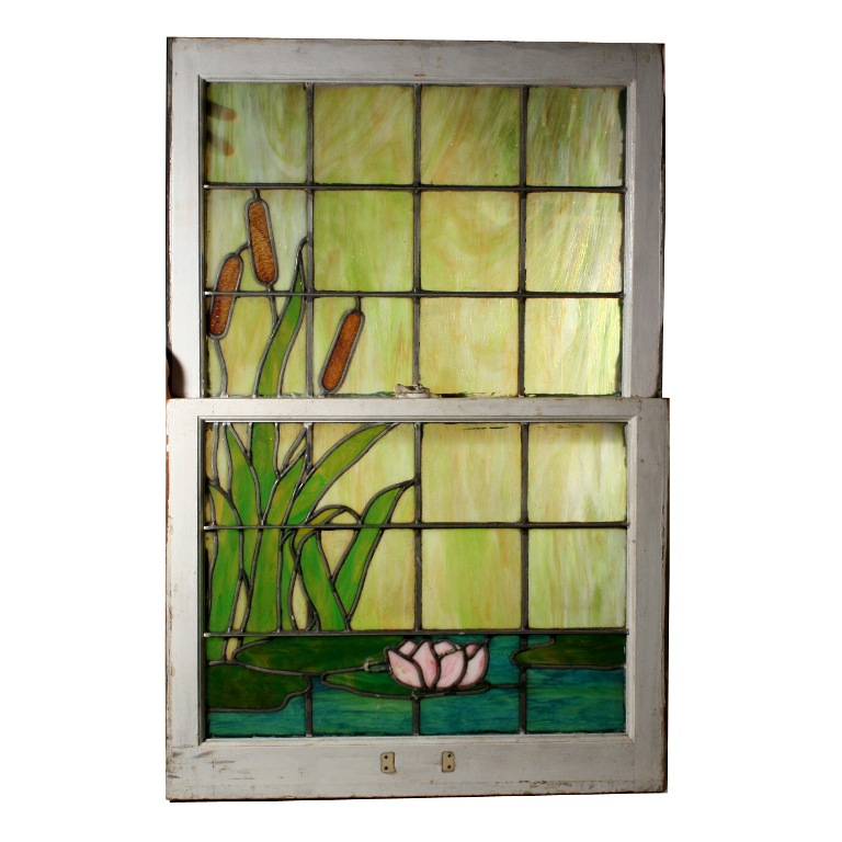 Remarkable Antique Stained Glass Window With Water Lily