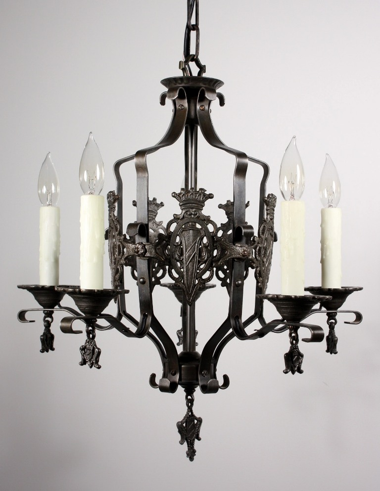 Handsome Antique Iron Tudor Five Light Chandelier With