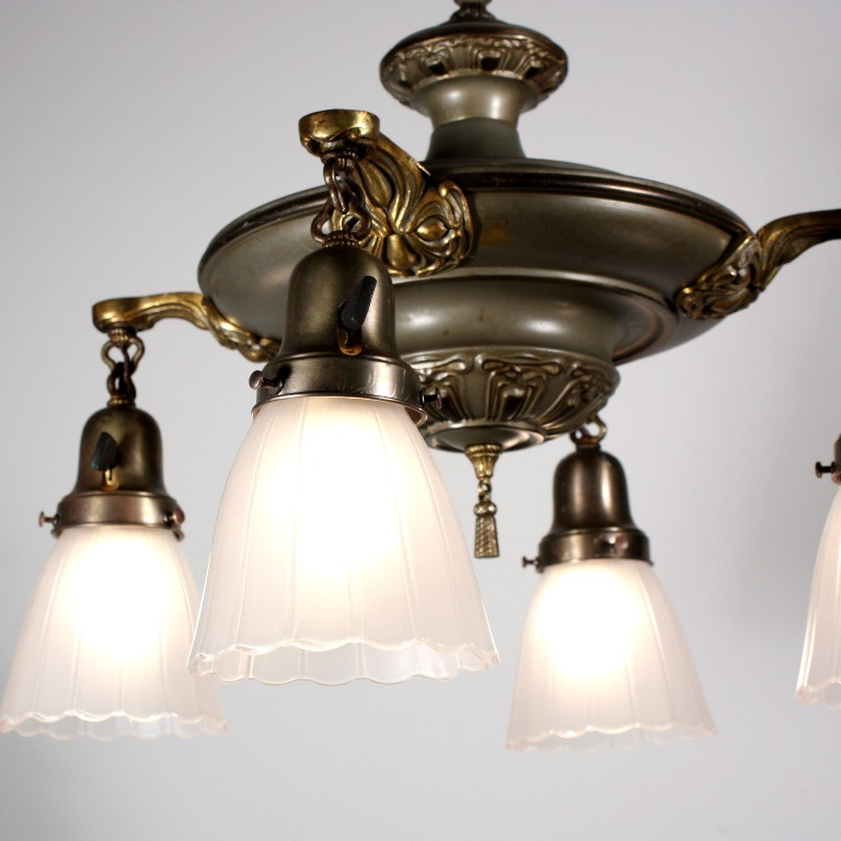 Antique Art Nouveau Pan Light Fixture With Original Glass