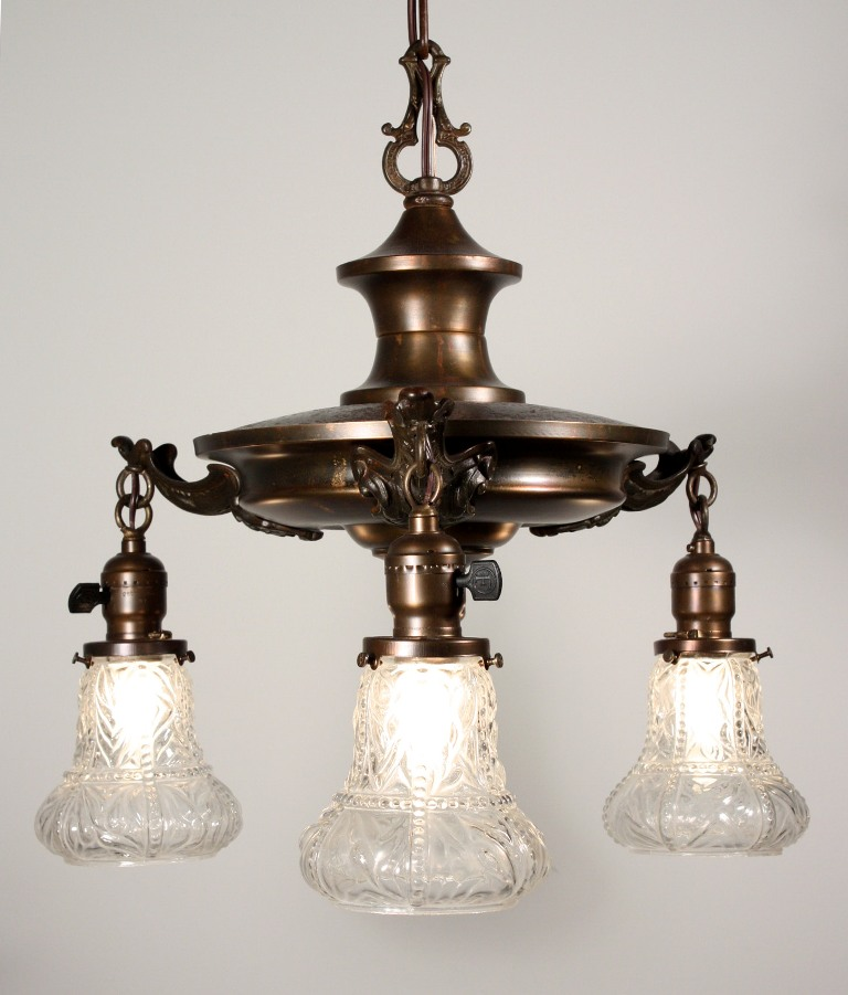 Marvelous Antique Three-Light Chandelier with Glass Shades, c, 1920s ...