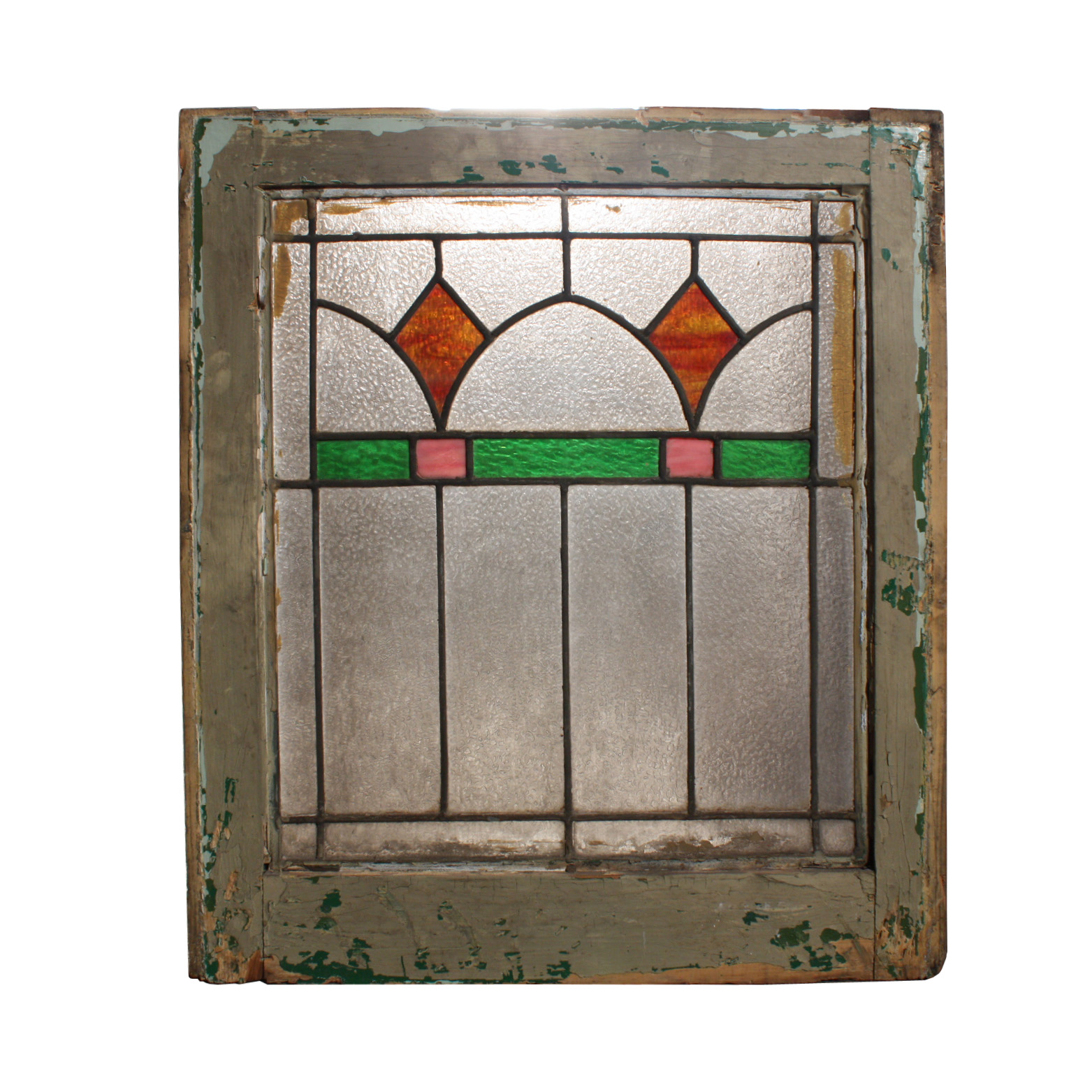 Lovely Antique American Stained Glass Window With Arches