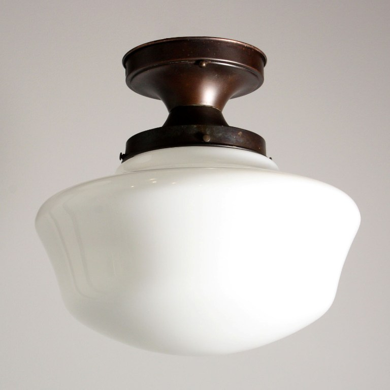 Large Antique Industrial Schoolhouse Flush Mount Light With Glass Globe  NC1116   For Sale