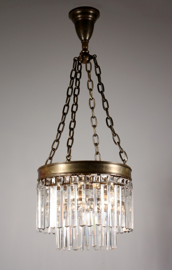Rare Antique Two Tier Chandelier with Cut Crystal Prisms