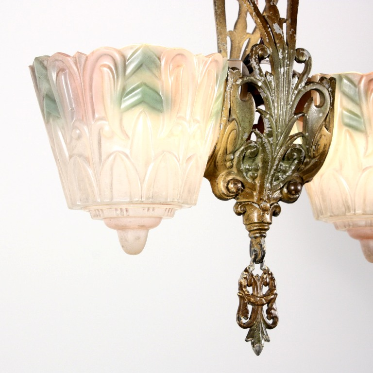 amazing antique two light art deco slip shade chandelier polychrome