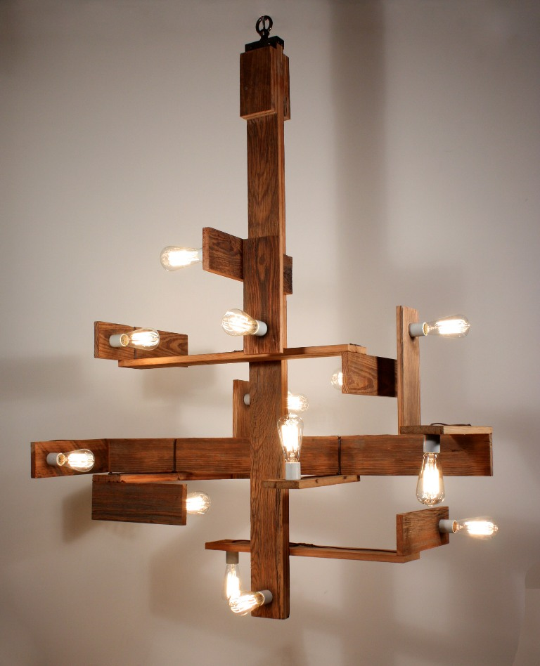 Unique custom chandelier with reclaimed wood nc1093 rw for for Unique chandeliers for sale
