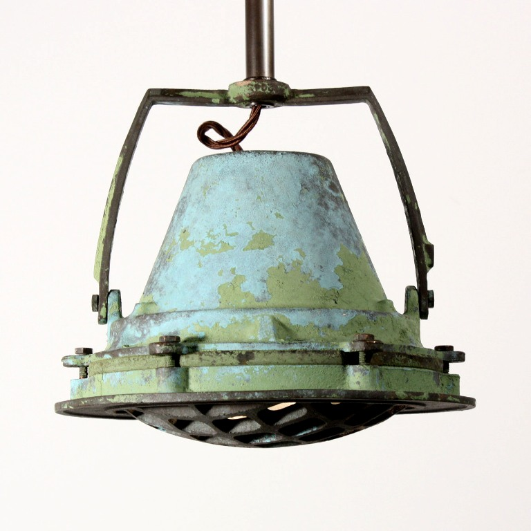 Three Matching Antique Industrial Pendant Lights from Union Terminal ...