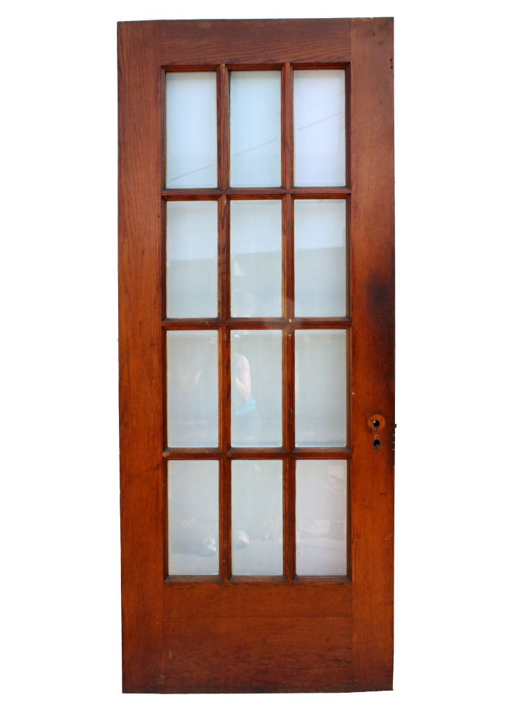 Salvaged 34 Exterior Oak Door With Beveled Glass NED41 For Sale Antiques C