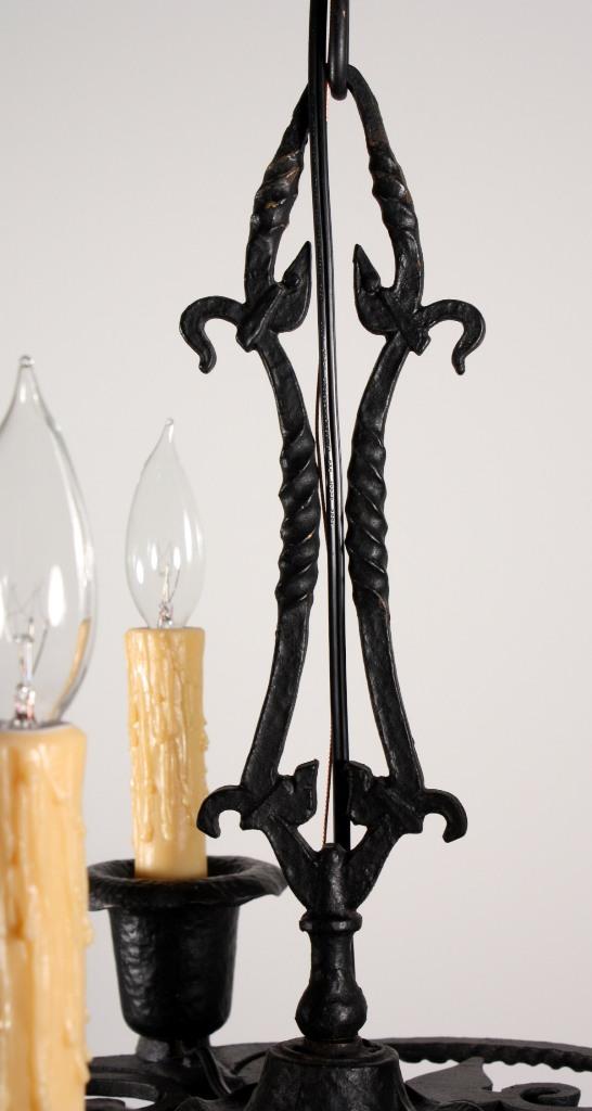 Remarkable Antique Five Light Cast Iron Tudor Chandelier