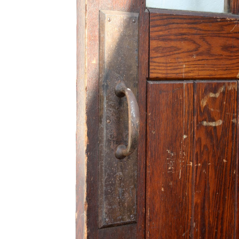 Vintage Industrial Fire Doors For Sale : Wide antique industrial oak door with handle push