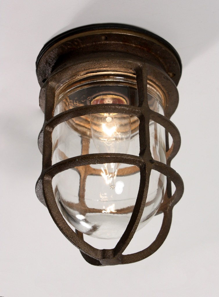 Antique Industrial Cast Bronze Cage Light Fixture With