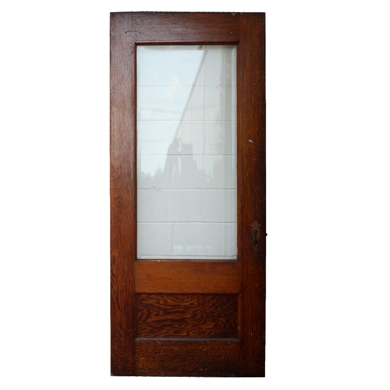 Antique Stained Oak Exterior Door With Beveled Glass 36 X 84 NED61 For Sal