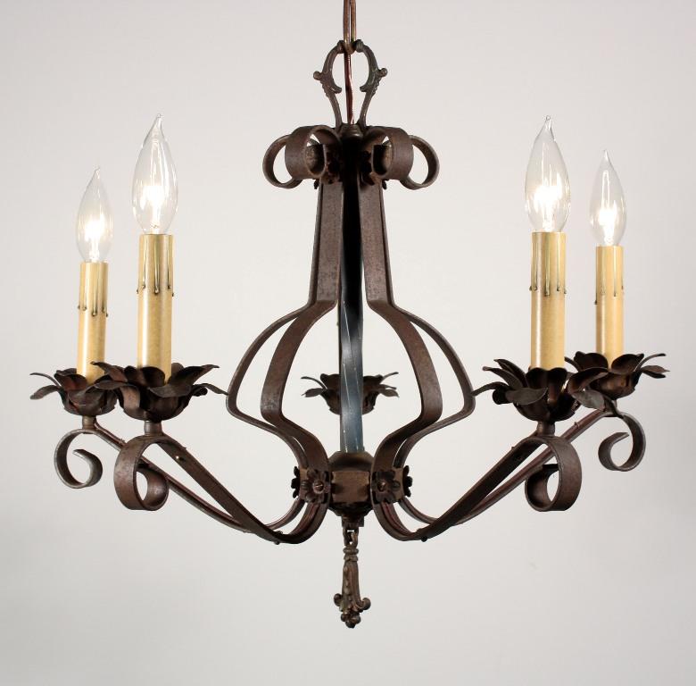 Wonderful Antique Wrought Iron Five Light Chandelier