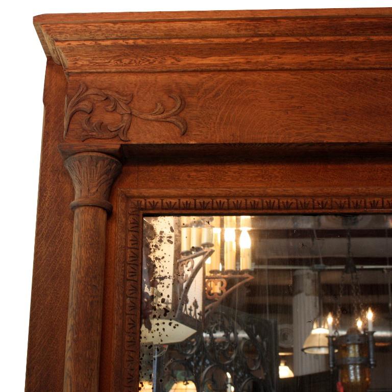 Antique oak mantel with mirror