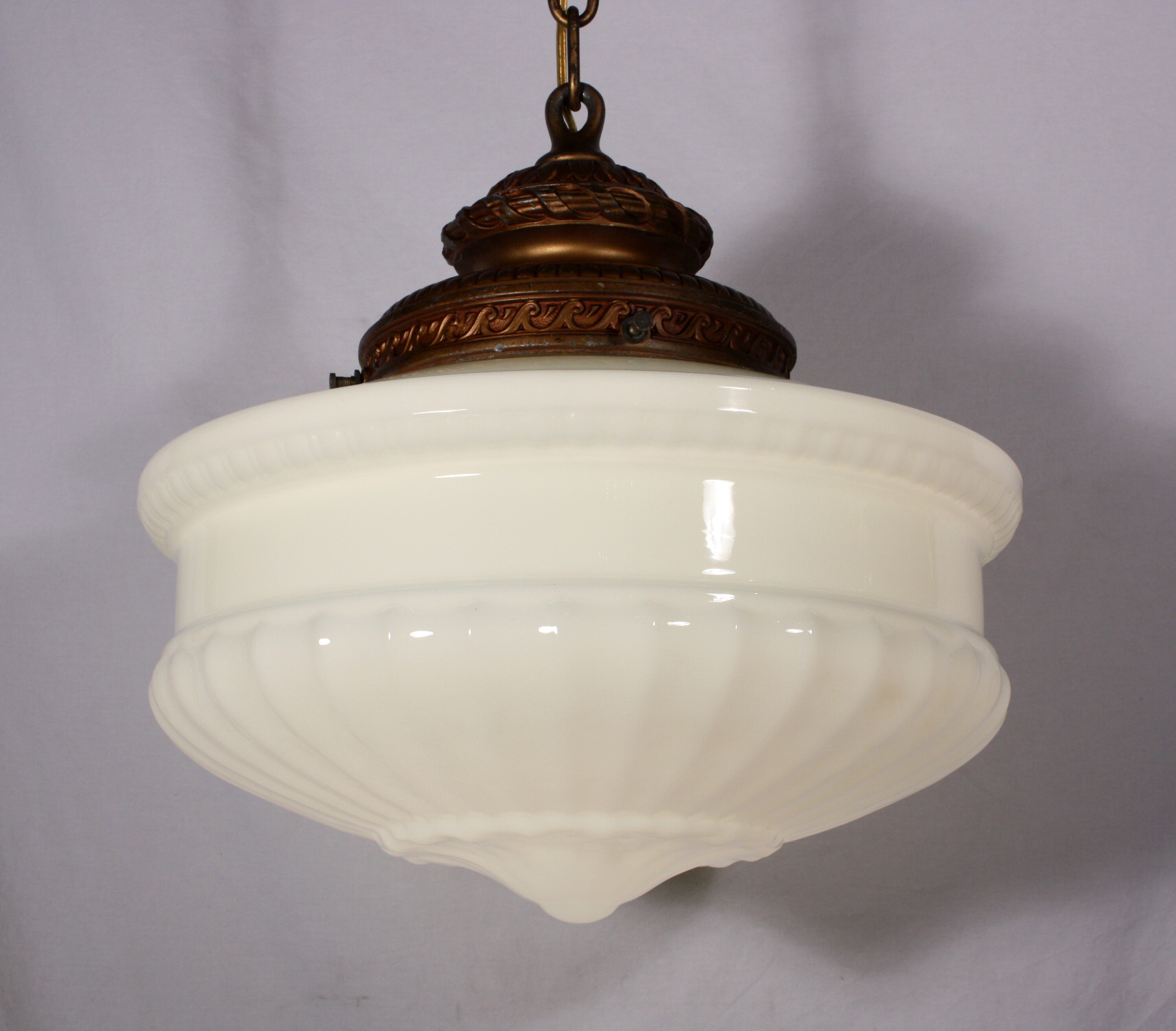 Large antique pendant light fixture with original milk for Antique pendant light fixtures