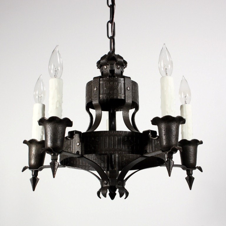 Striking antique spanish revival five light chandelier for Spanish revival lighting