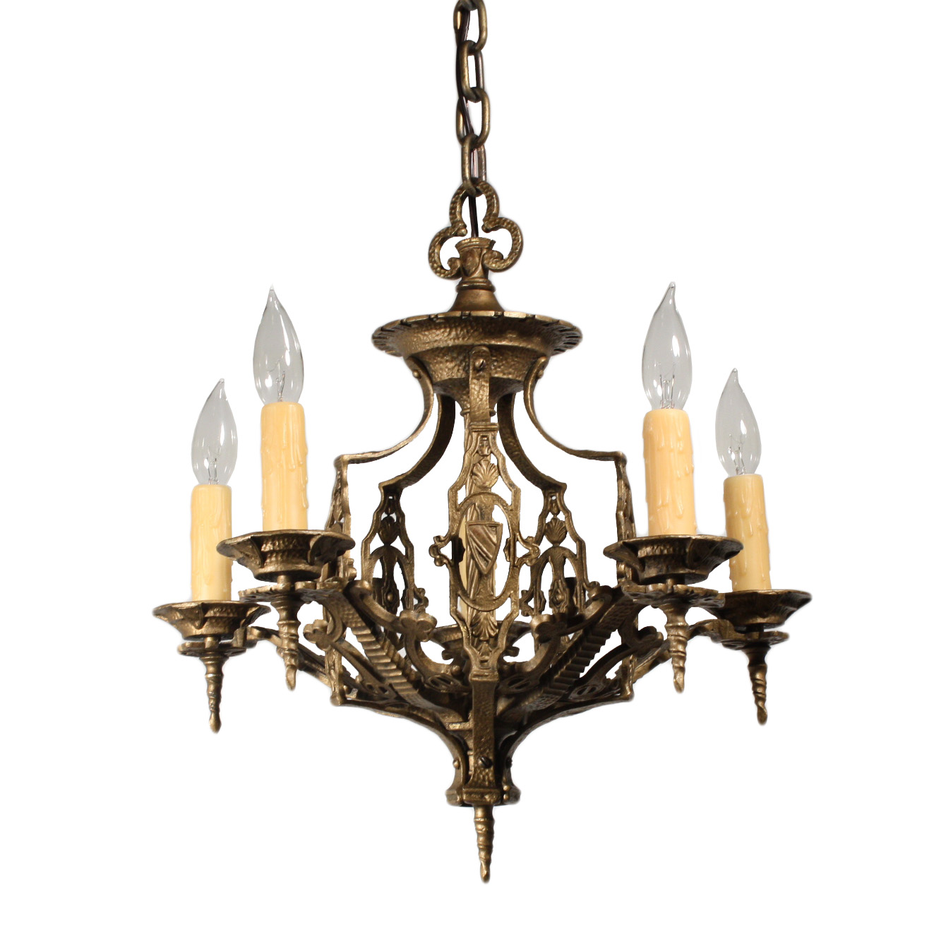 Handsome antique five light spanish revival chandelier for Spanish revival lighting
