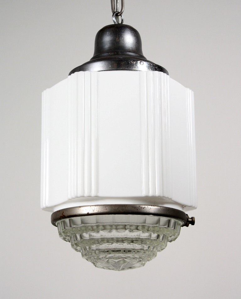 Antique art deco skyscraper pendant light with two part for Artistic pendant lights