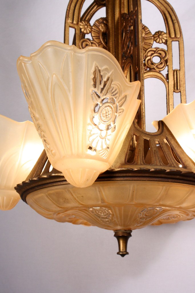 This is a superb antique cast iron Art Deco slip shade chandelier by Consolidated Glass dating to the 1930s. The five-light chandelier begins with ... & Fantastic Antique Five-Light Art Deco Slip Shade Chandelier by ... azcodes.com